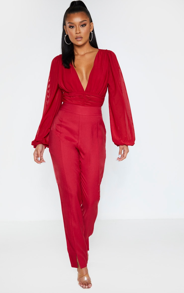 Scarlet Mesh Ruched Waistband Bodysuit 4