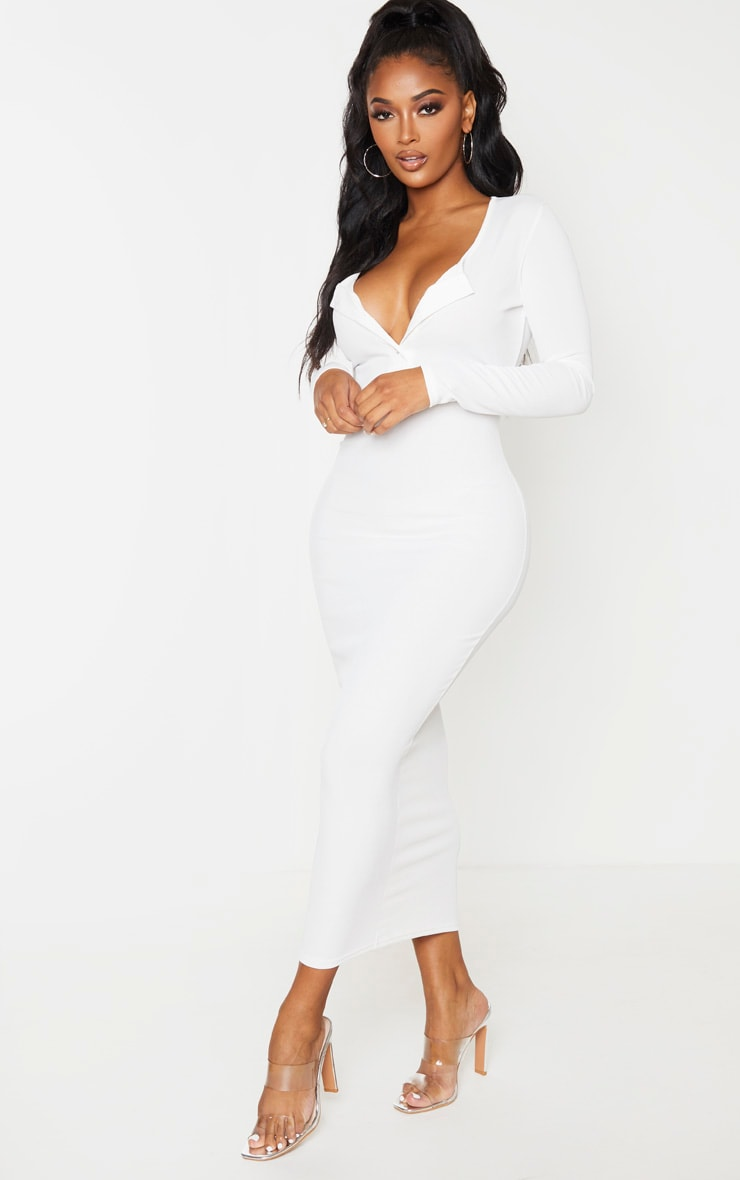 Shape Cream Ribbed Button Front Long Sleeve Midaxi Dress 4