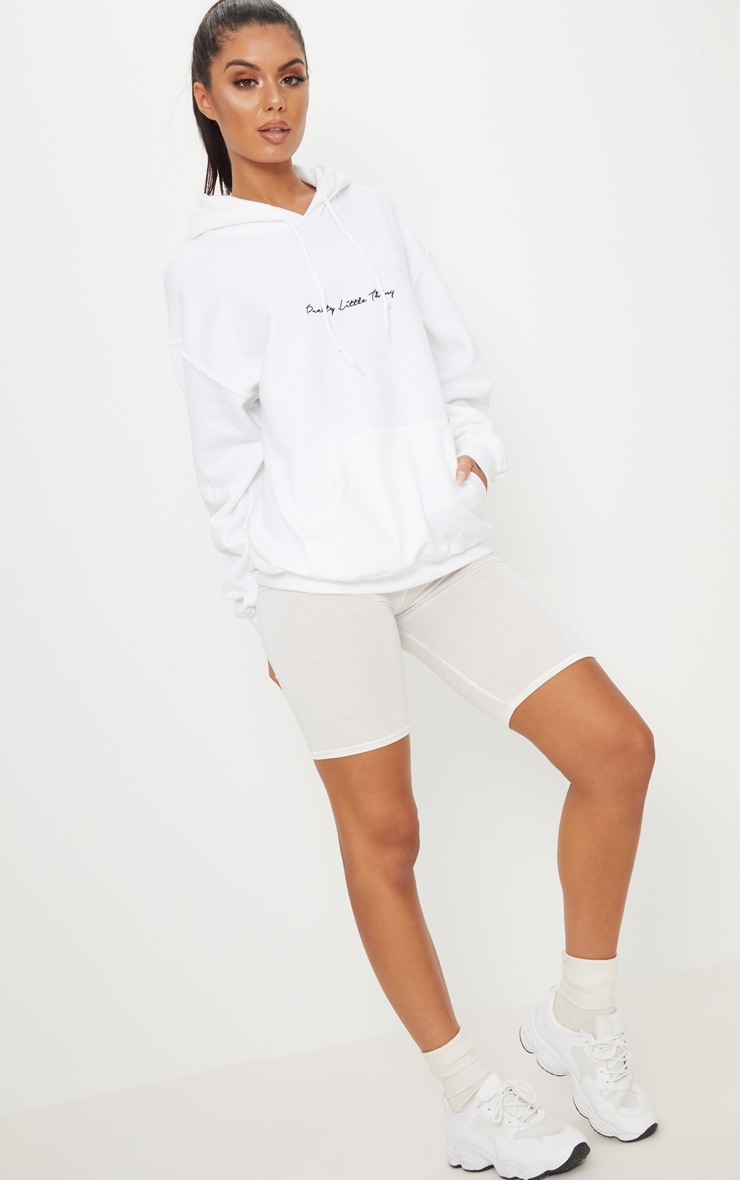 PRETTYLITTLETHING White Embroidered Oversized Hoodie 5
