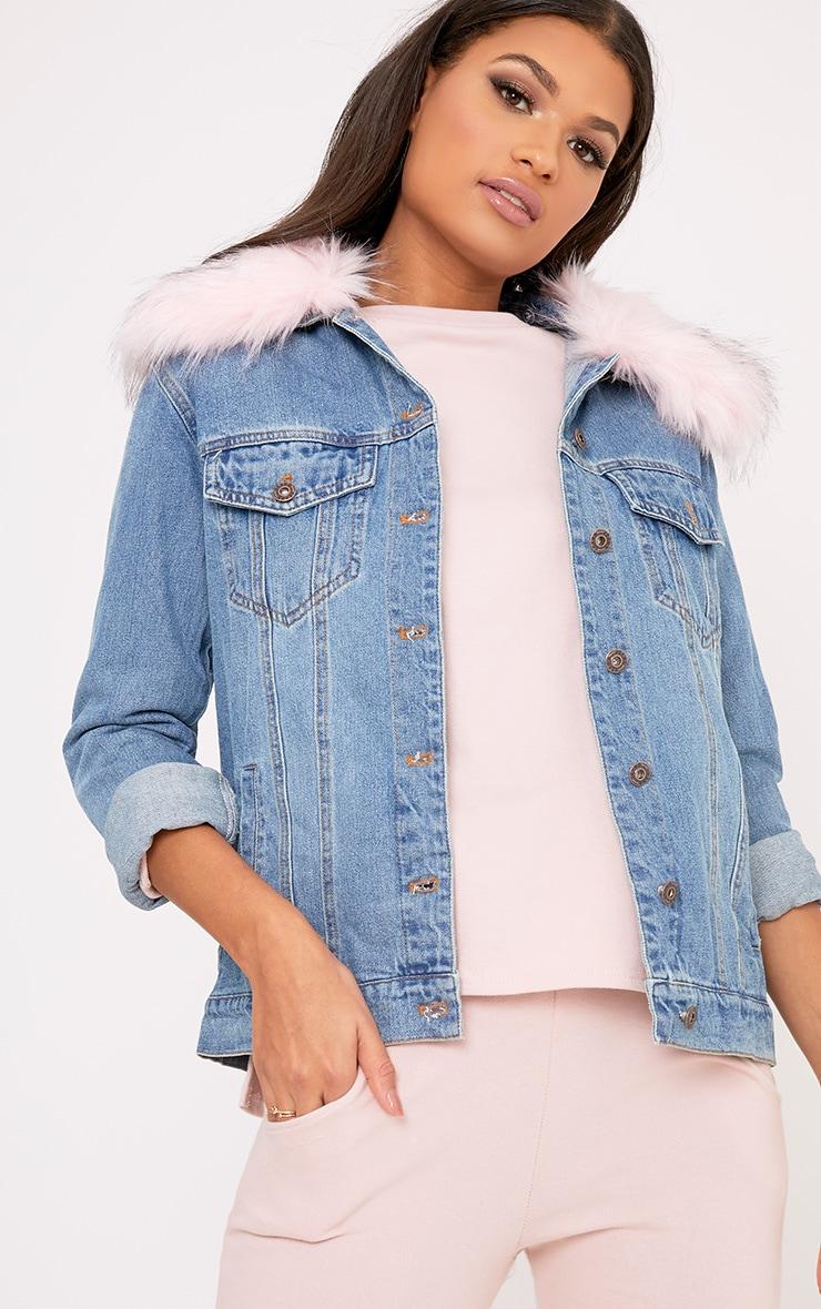 Avanie Light Pink Faux Fur Collar Oversized Denim Jacket 1