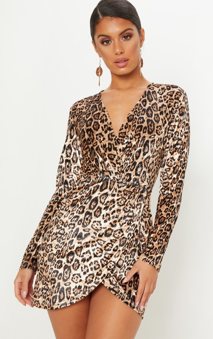 Tan Velvet Leopard Plunge Wrap Bodycon Dress 1
