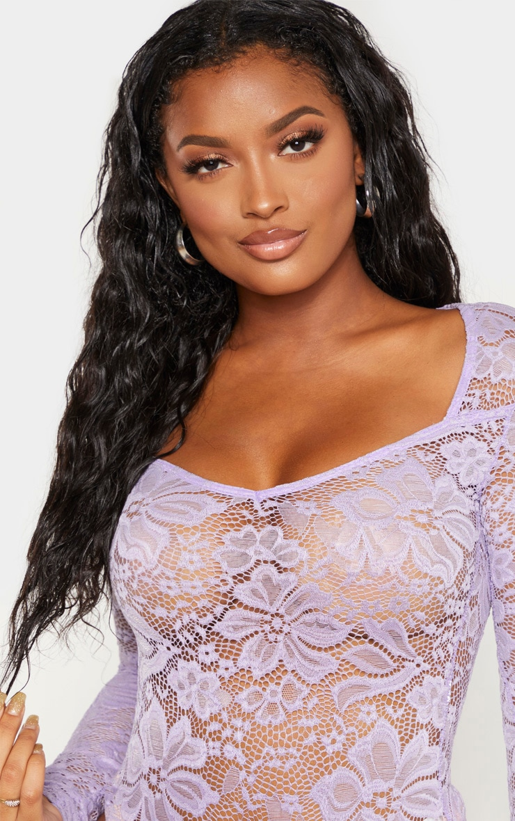 Shape Lilac Lace V Neck Long Sleeve Bodysuit 5
