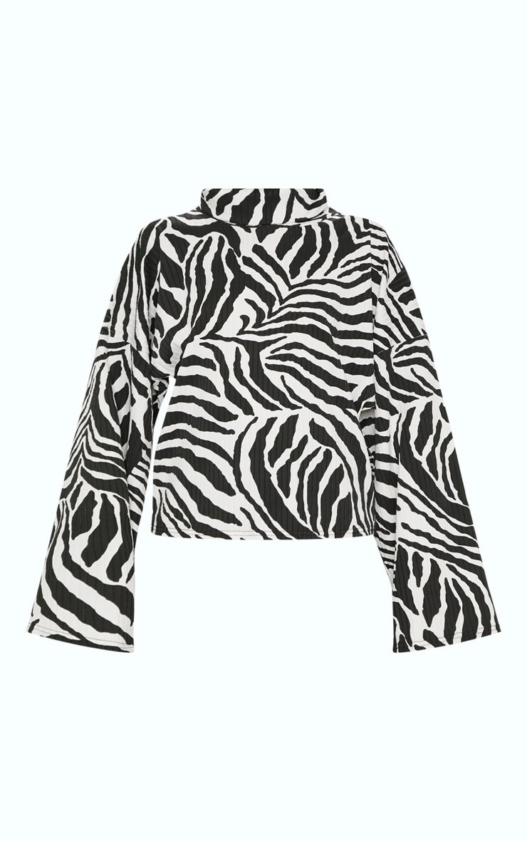 Monochrome Zebra Print Roll Neck Oversized Sweater 3
