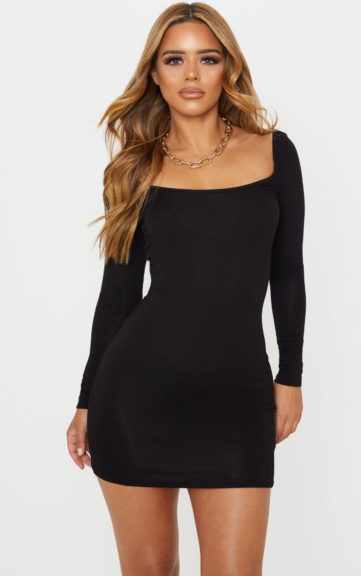Petite Black Long Sleeve Jersey Mini Dress 1