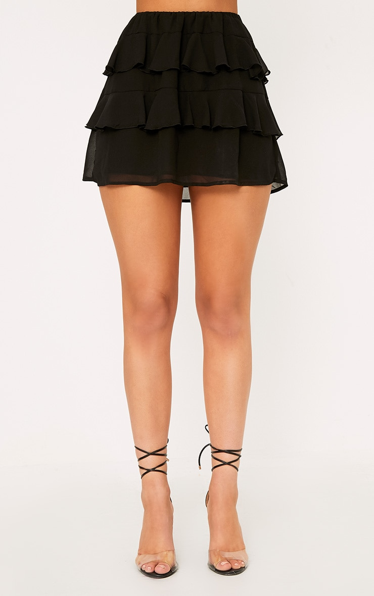 Poppey Black Ruffle Mini Skirt 2