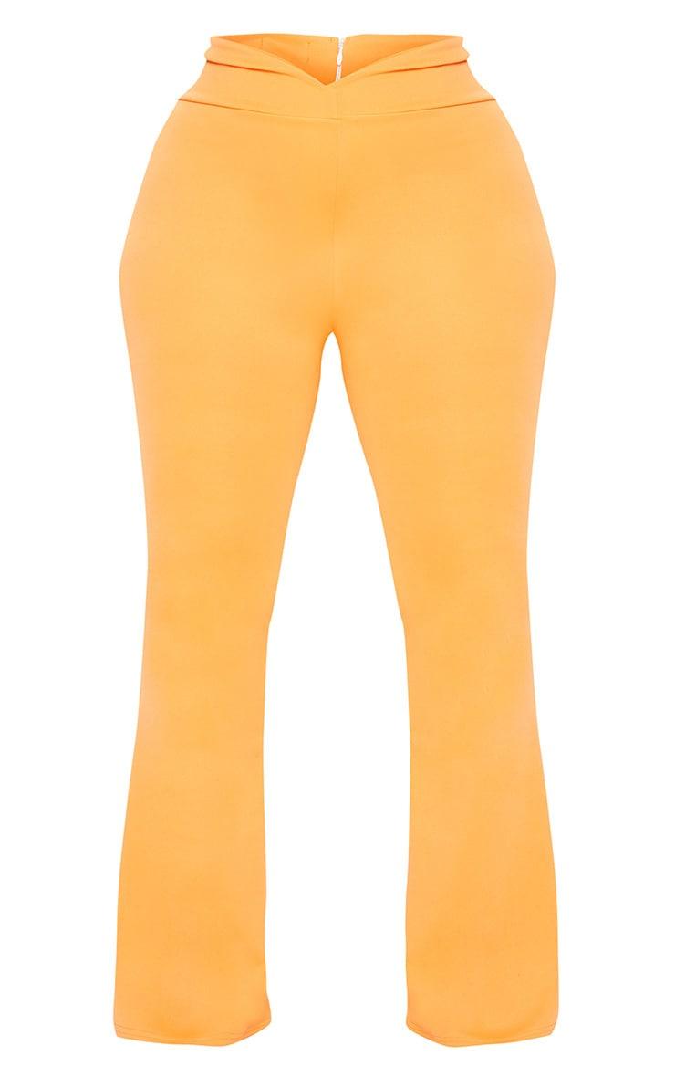 Plus Orange Scuba Curve Waist Band Detail Flared Trousers  3