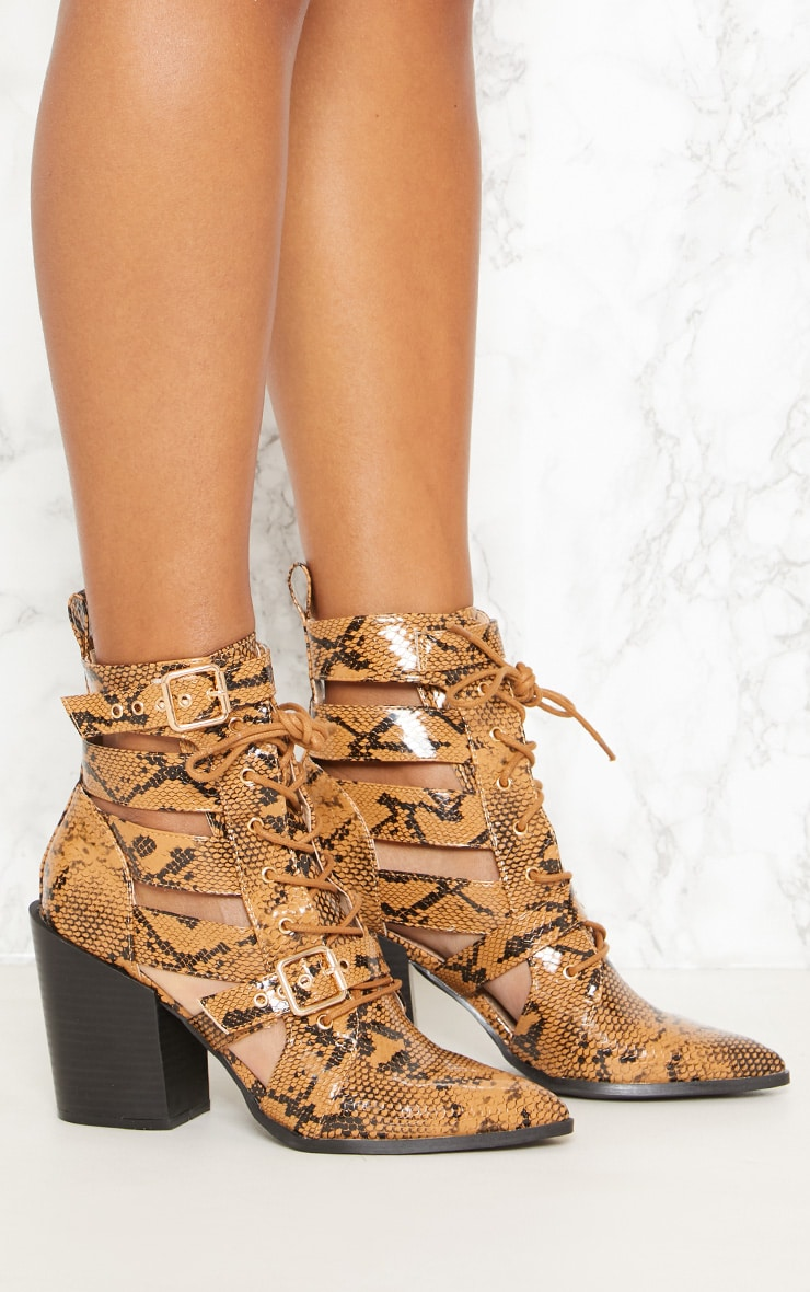 Tan Snake Print Cut Out Heeled Boots 5