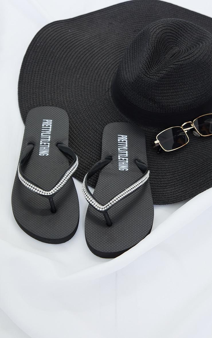 Black Diamante Toe Thong Flip Flop 3