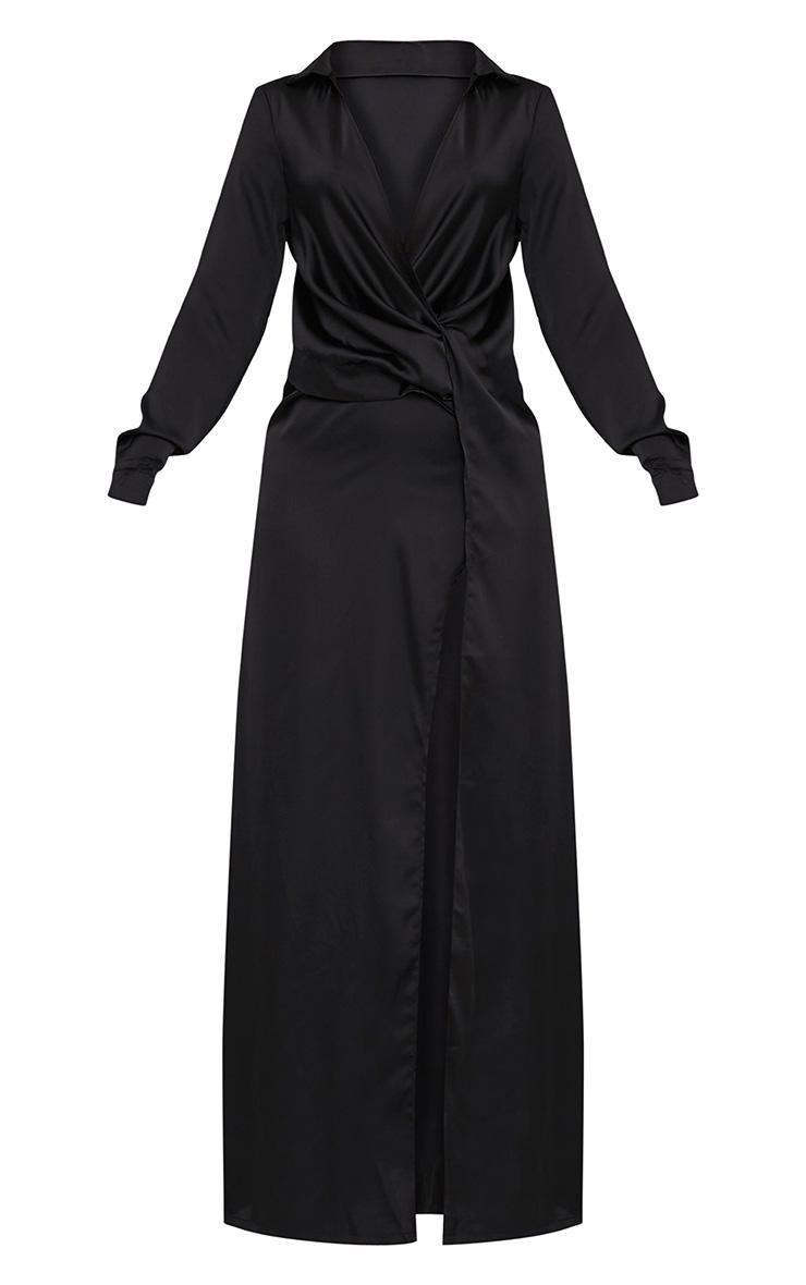 Alyssia robe chemise maxi noire à devant torsadé 3