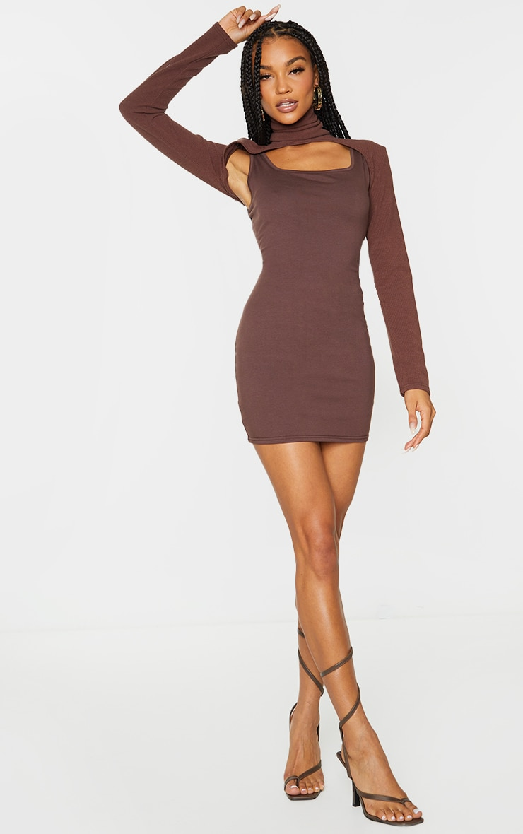 Chocolate High Neck Layered Detail Long Sleeve Bodycon Dress 3