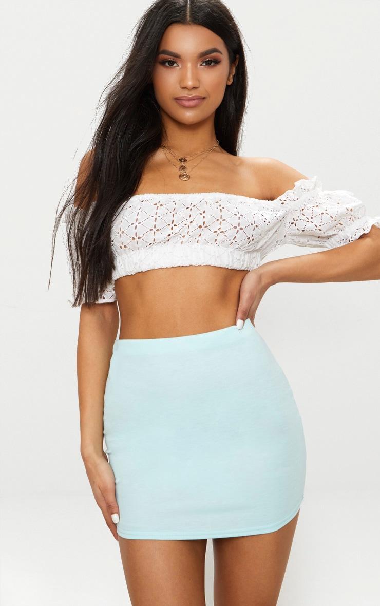 Basic Mint Jersey Mini Skirt