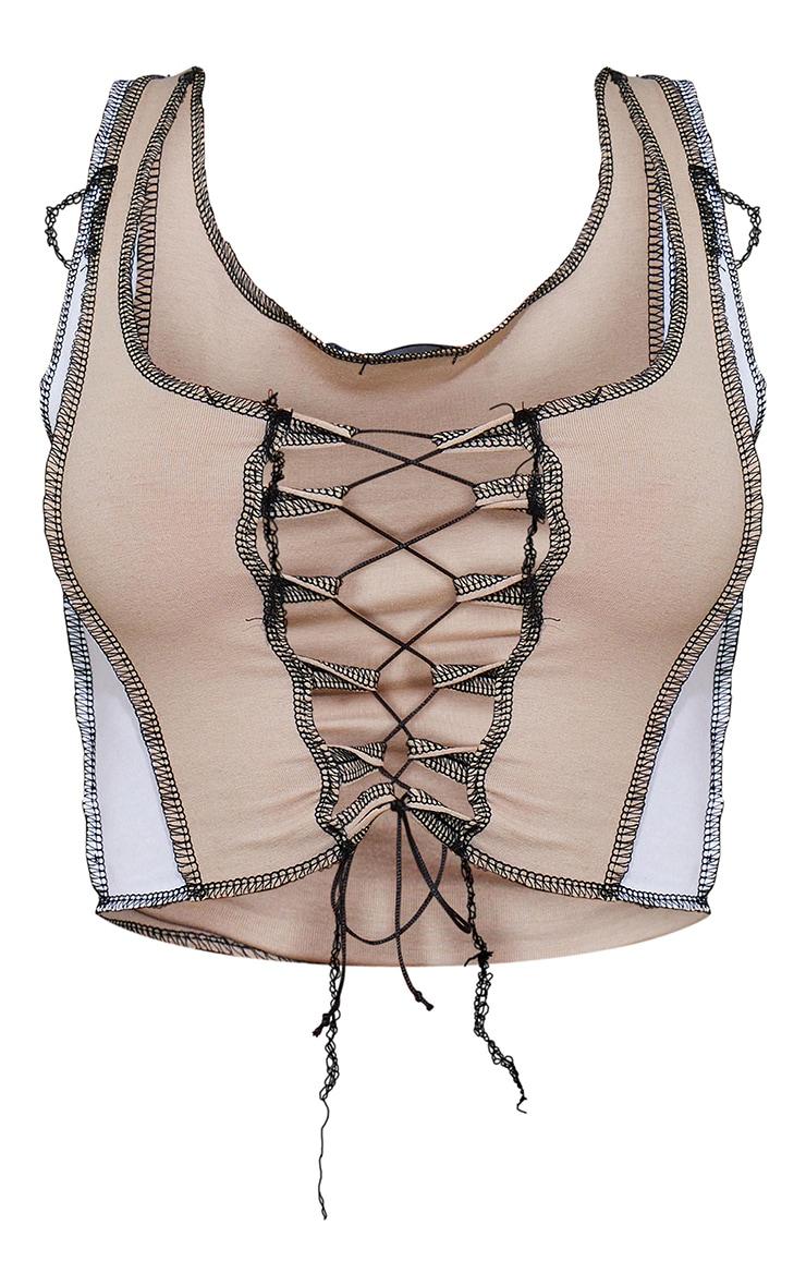 Nude Jersey Contrast Stitch Lace Up Crop Top 5