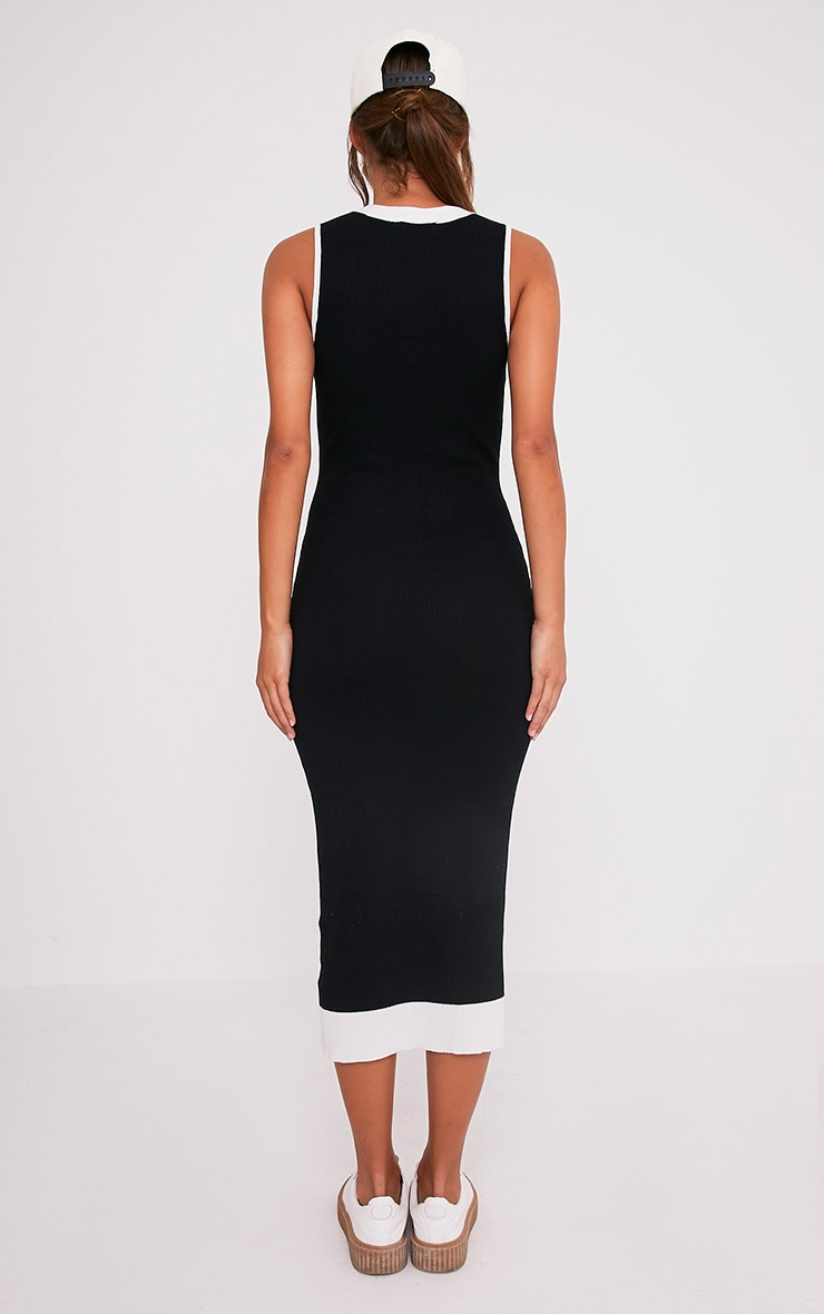 Joseline Knitted Black Knitted Tie Ribbed Maxi Dress 2