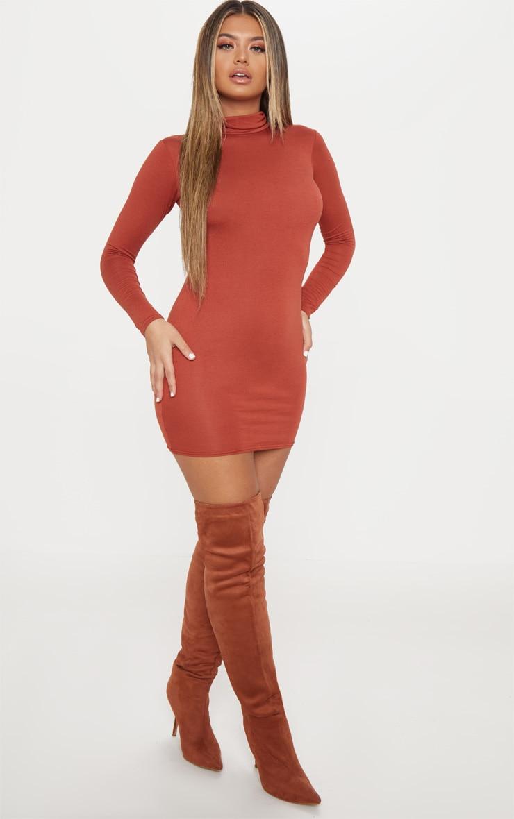 Rust Jersey High Neck Bodycon Dress 4