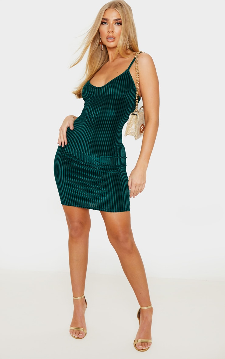 Emerald Green Velvet Ribbed Strappy Bodycon Dress 4
