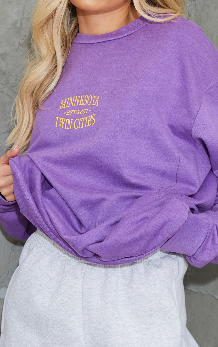 Purple Minnesota Slogan Printed Washed Sweatshirt 4