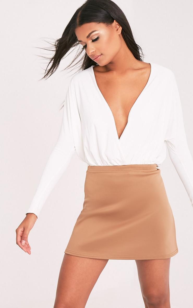 Jessica Camel A-Line Mini Skirt 1