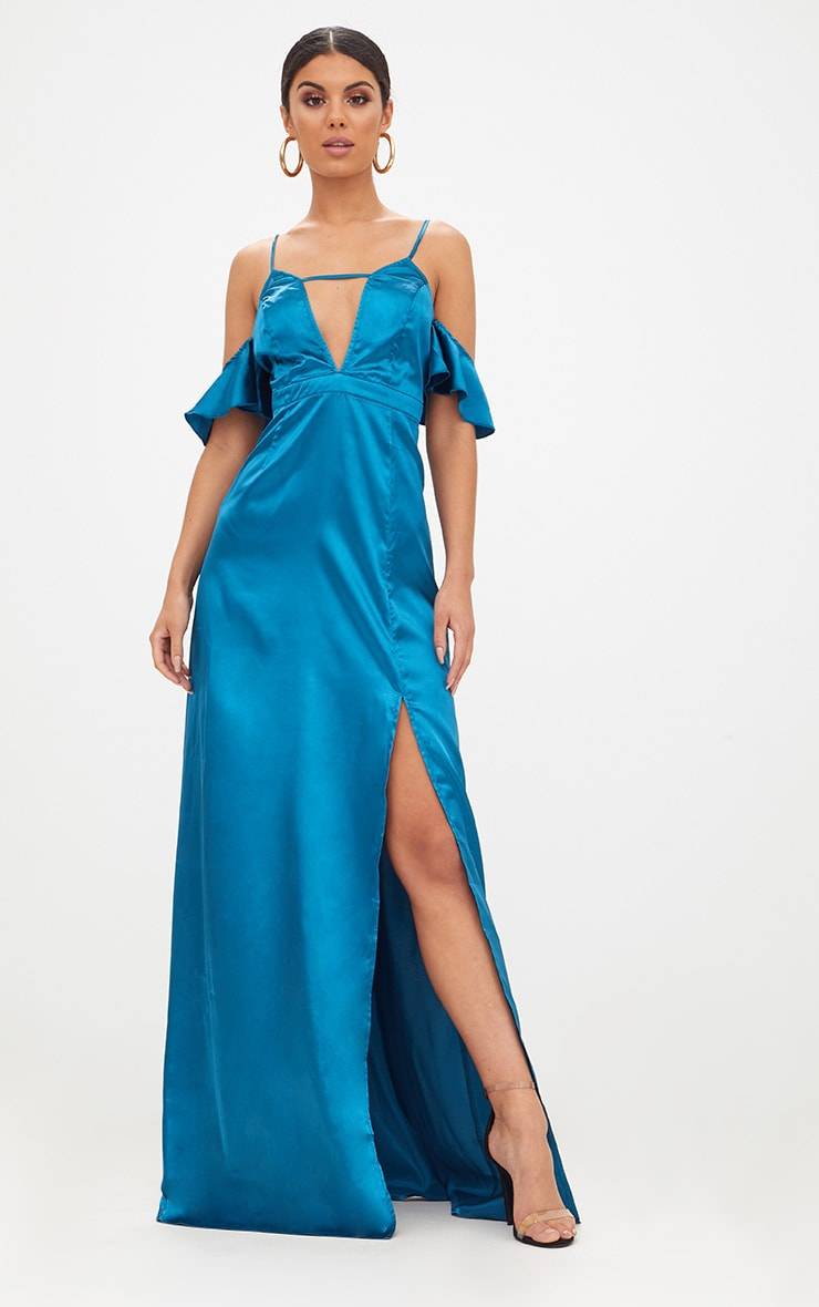 Teal Frill Sleeve Split Detail Satin Maxi Dress 1