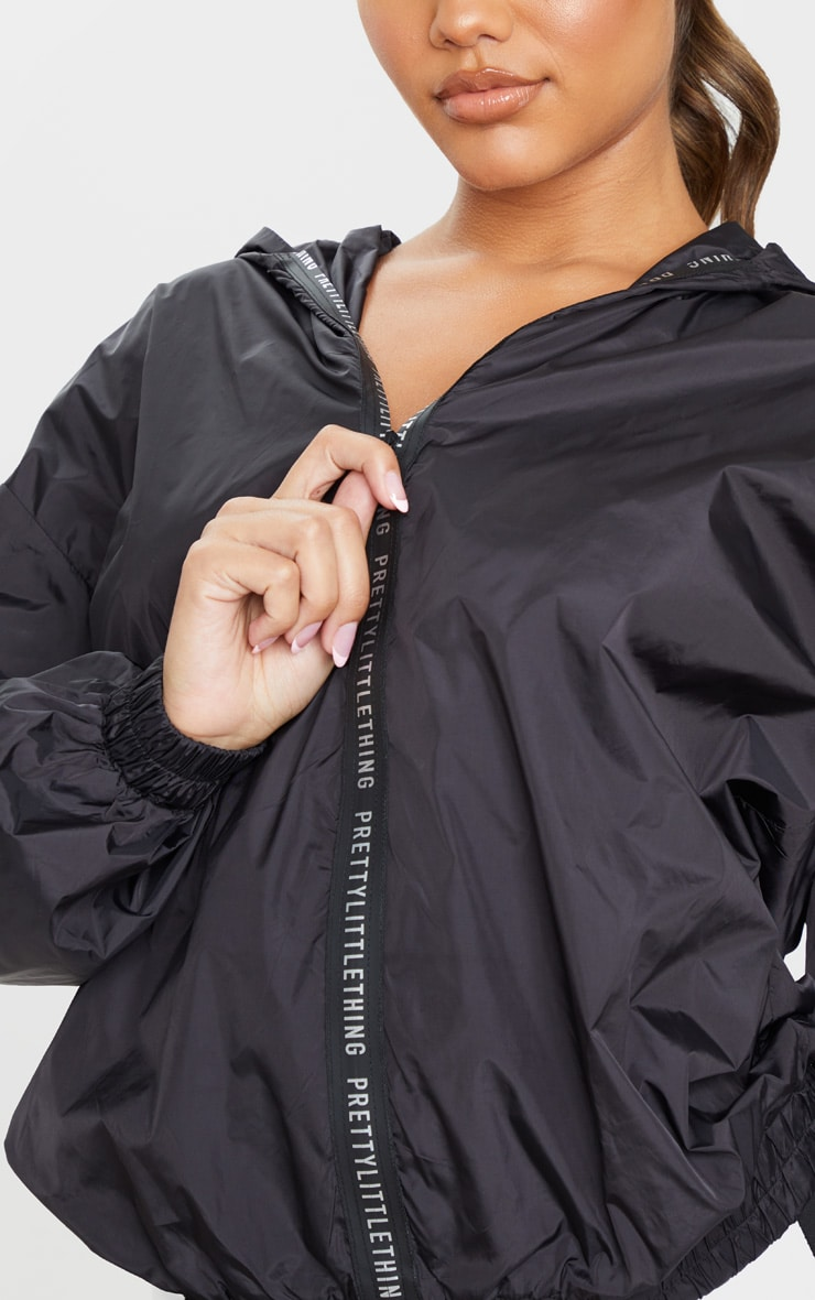PRETTYLITTLETHING Black Sport Zip Up Windbreaker 4