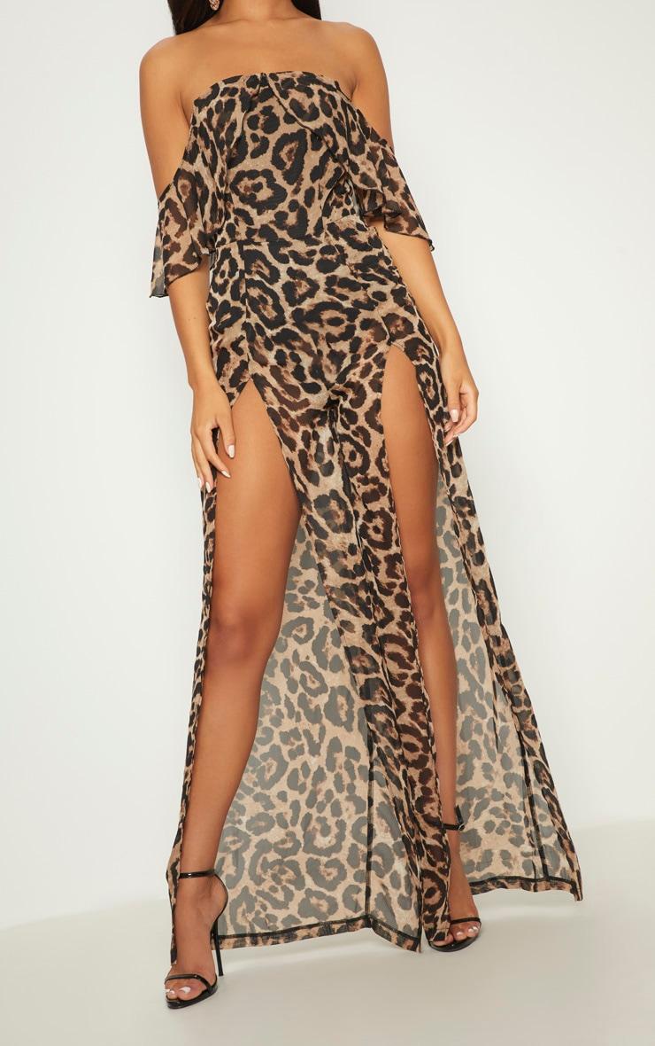 Leopard Bardot Split Leg Jumpsuit 5