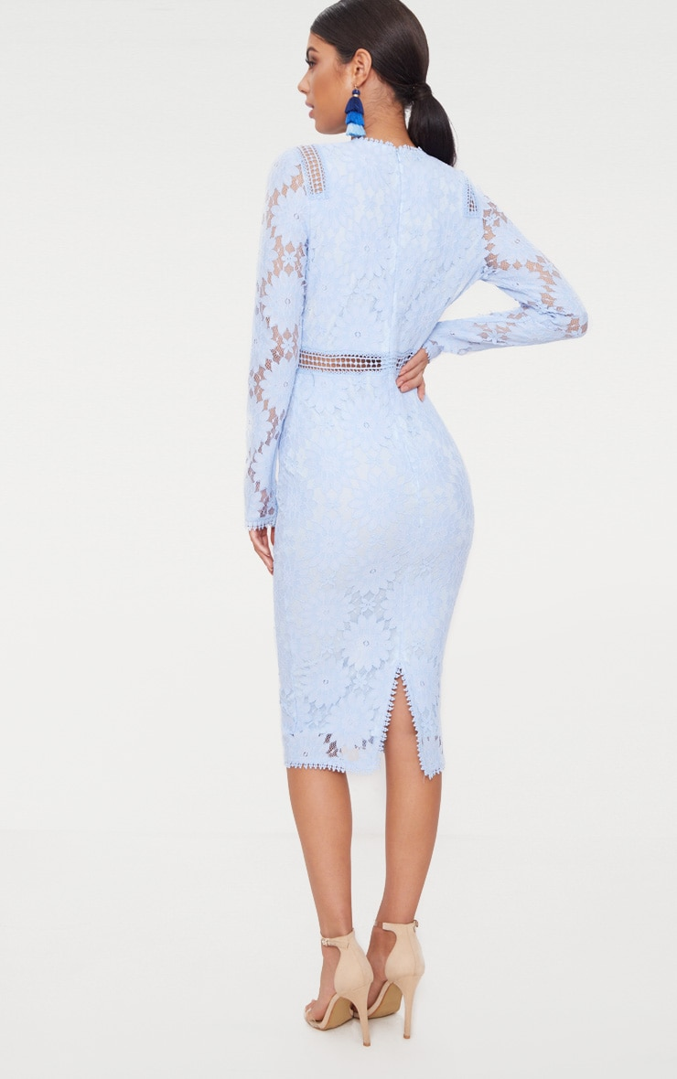 Dusty Blue Long Sleeve Lace Bodycon Dress 2