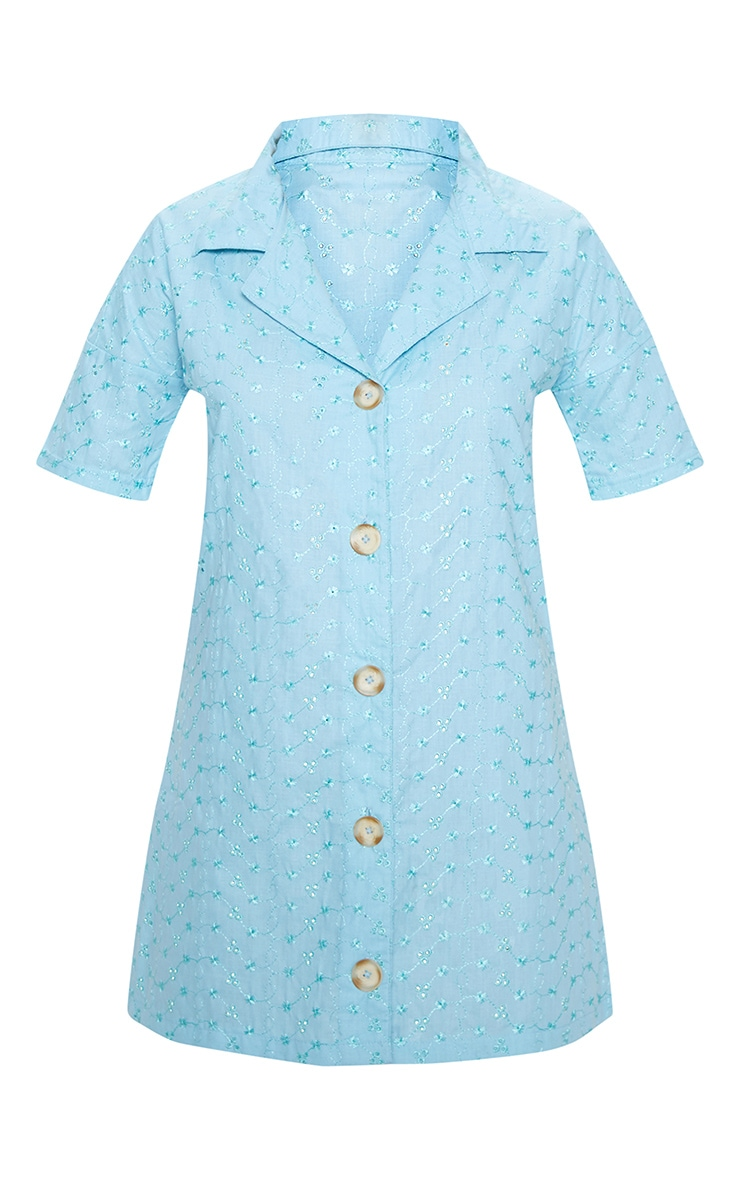 Baby Blue Broderie Analgise Tortoise Shell Button Shirt Dress 3