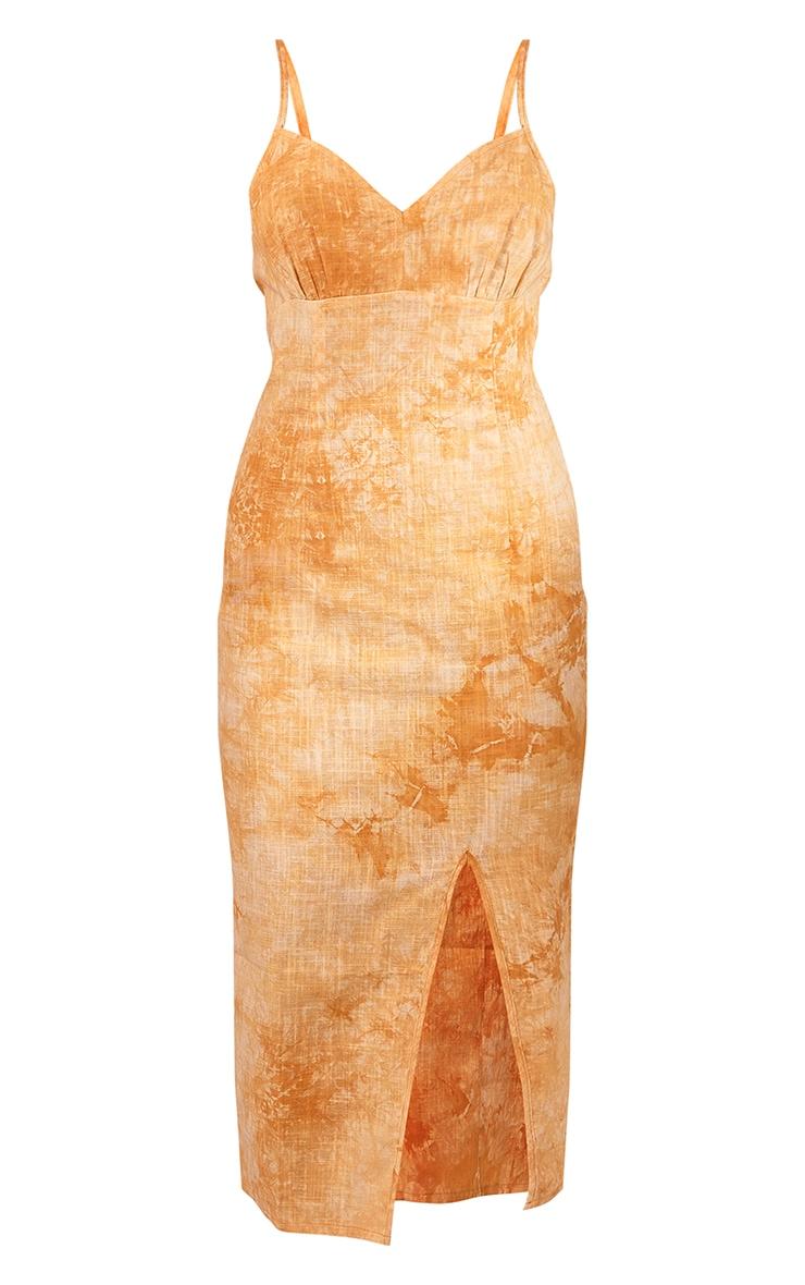 Mustard Tie Dye Woven V Neck Split Detail Maxi Dress 5