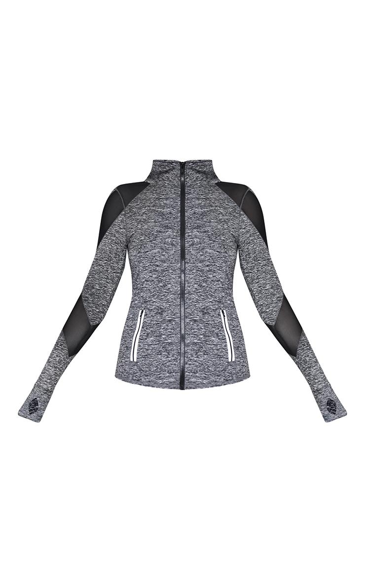 Veste de sport gris chiné à zip et parties en mesh 5