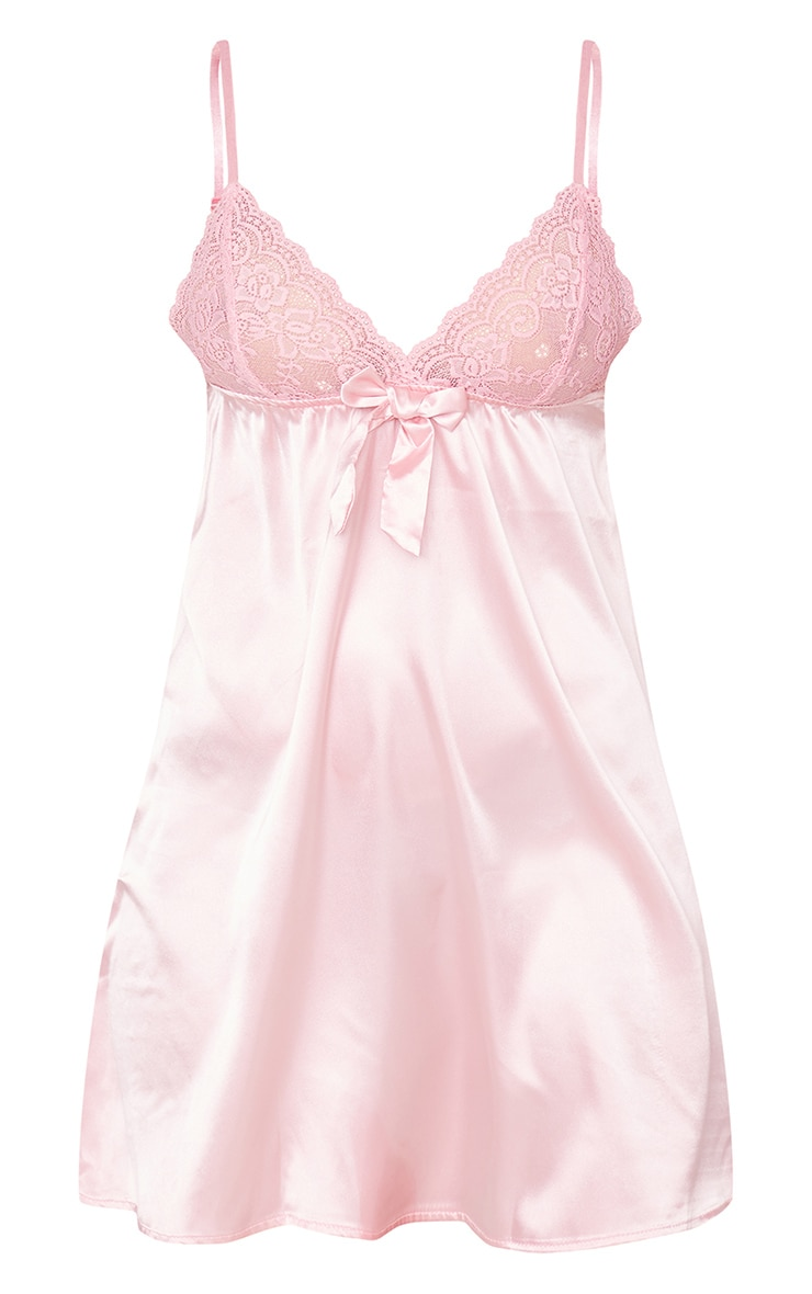 Pink Lace Bust Bow Detail Satin Babydoll Nightie 5