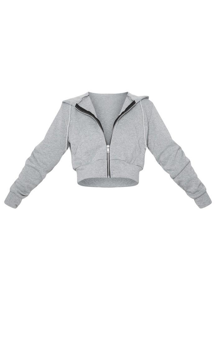 Petite - Hoodie court gris zippé 3