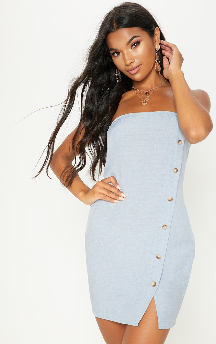Pale Blue Bandeau Tortoise Shell Button Bodycon Dress 1