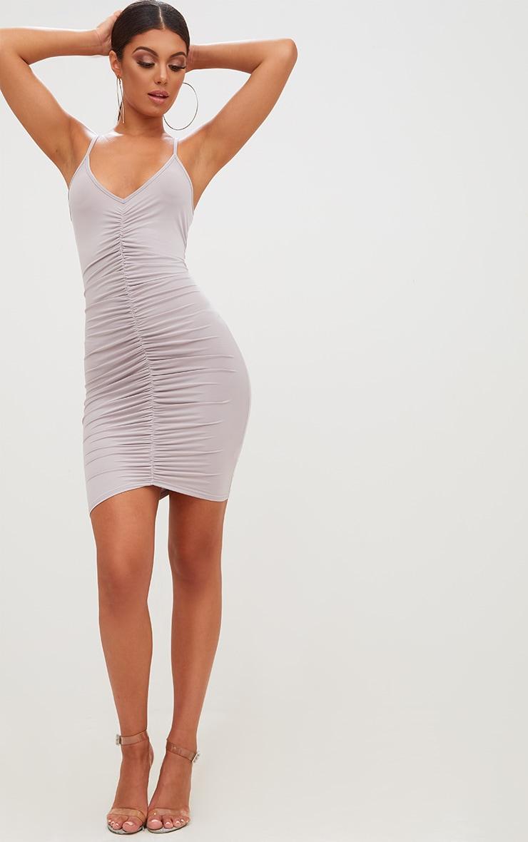 Ice Grey Slinky Ruched Strappy Bodycon Dress 4