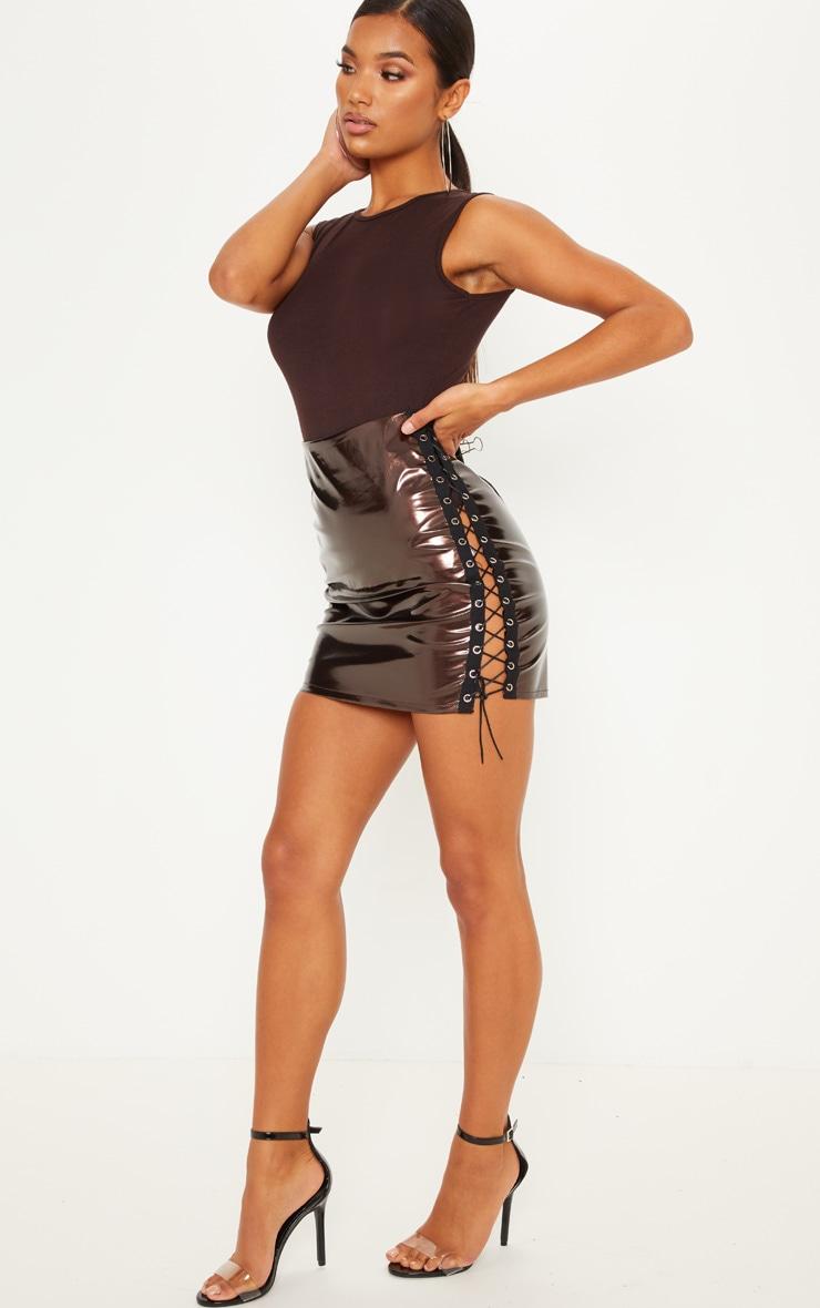 Chocolate Vinyl Double Lace Up Mini Skirt 5