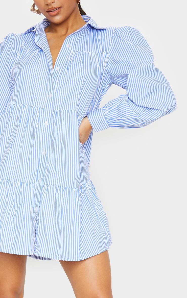 Blue Stripe Long Sleeve Tiered Shirt Dress 4