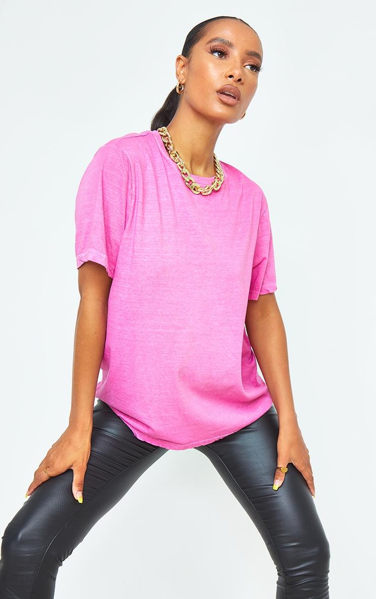 Hot Pink Washed Oversized T Shirt 1