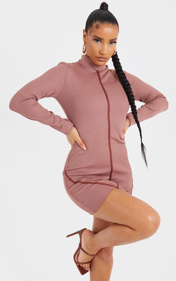 Mauve Structured Rib High Neck Long Sleeve Binding Bodycon Dress 1