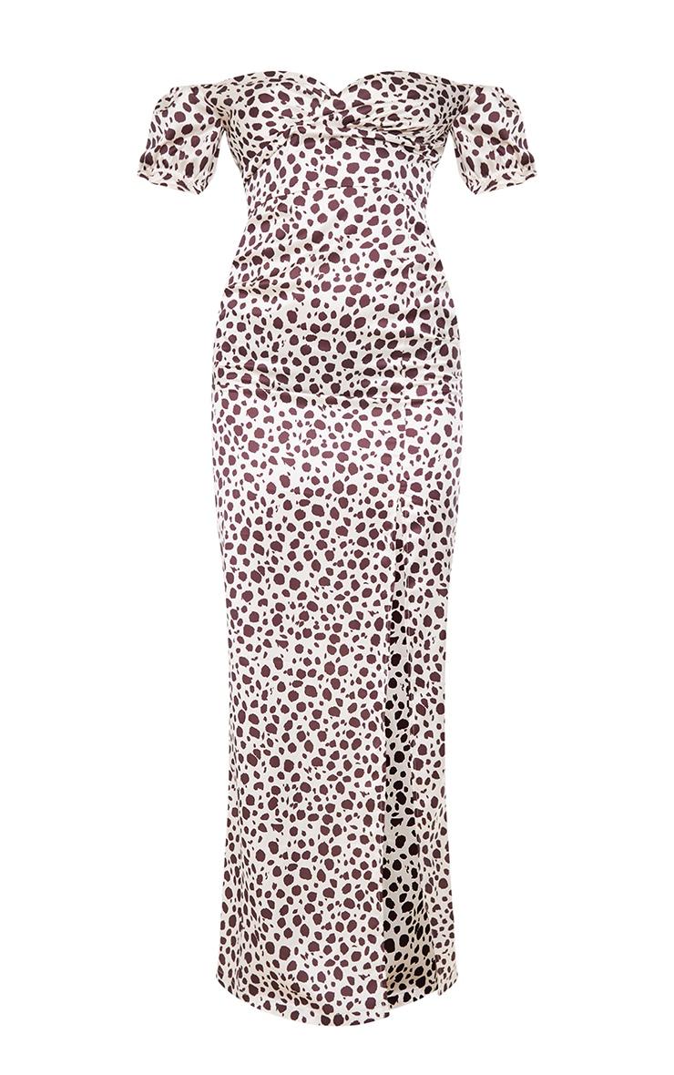 Stone Dalmatian Print Wrap Bardot Maxi Dress 5