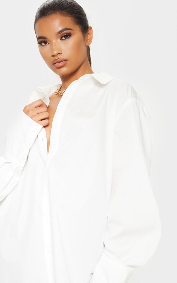 White Oversized Cuff Poplin Shirt 5