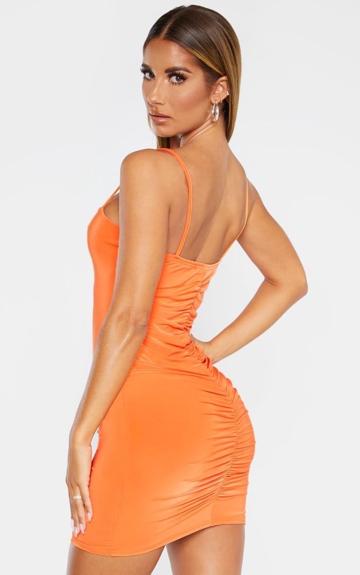 Orange Slinky Strappy Ruched Back Bodycon Dress 1
