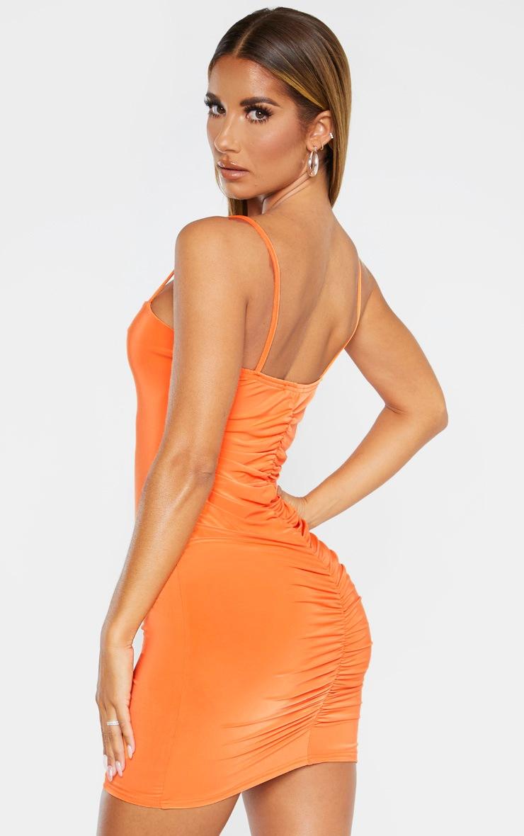 Orange Slinky Strappy Ruched Back Bodycon Dress by Prettylittlething