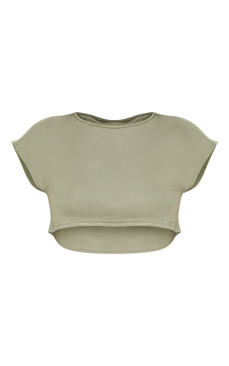 Shape Olive Green Jersey Extreme Crop T-Shirt 3