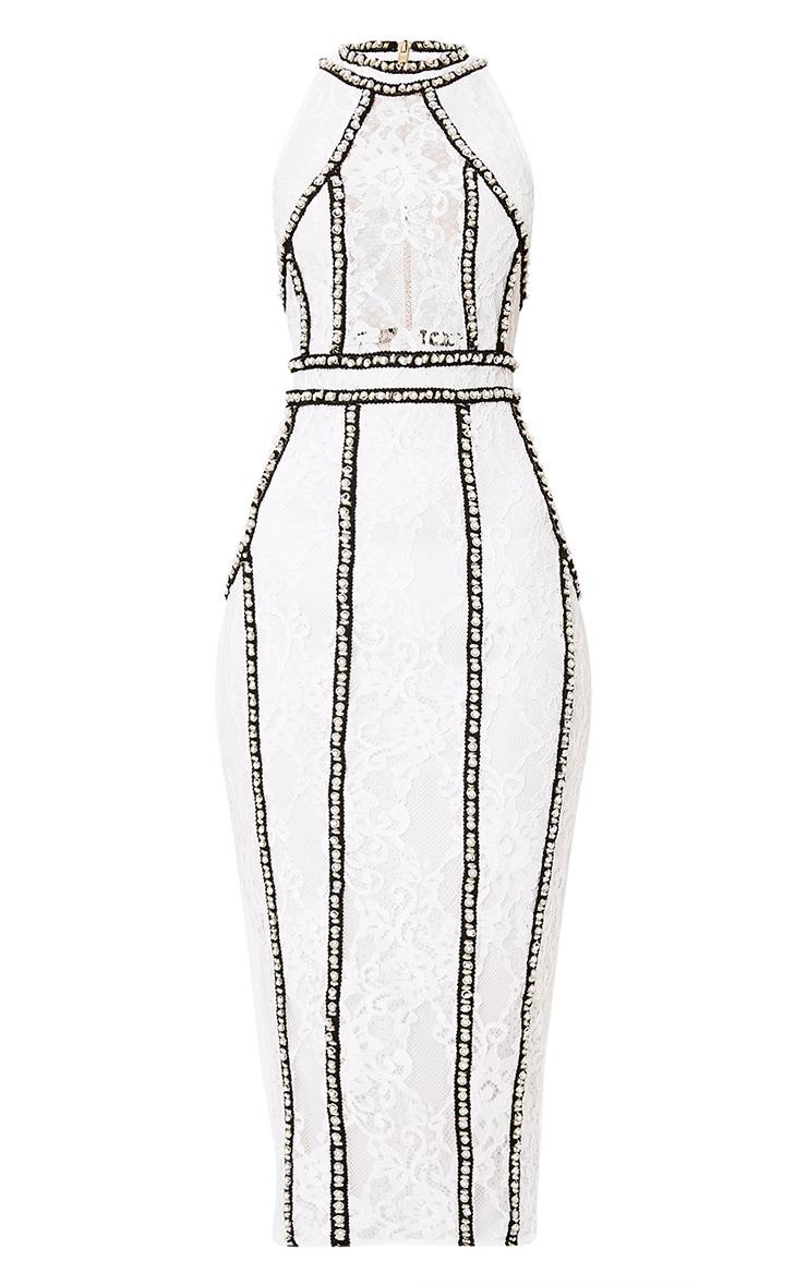 Francessia White Premium Embellished Midi Dress 2