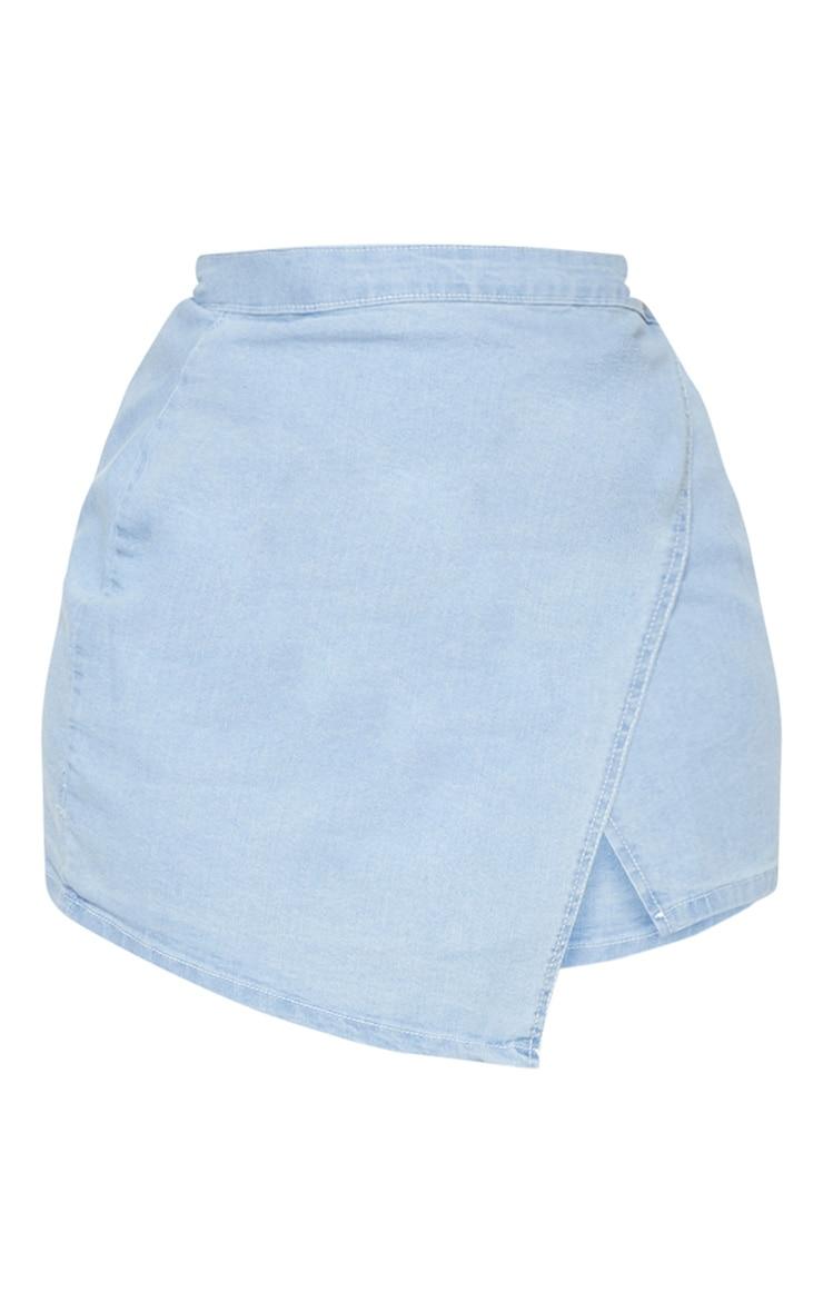 Plus Light Wash Wrap Over Denim Skirt 3