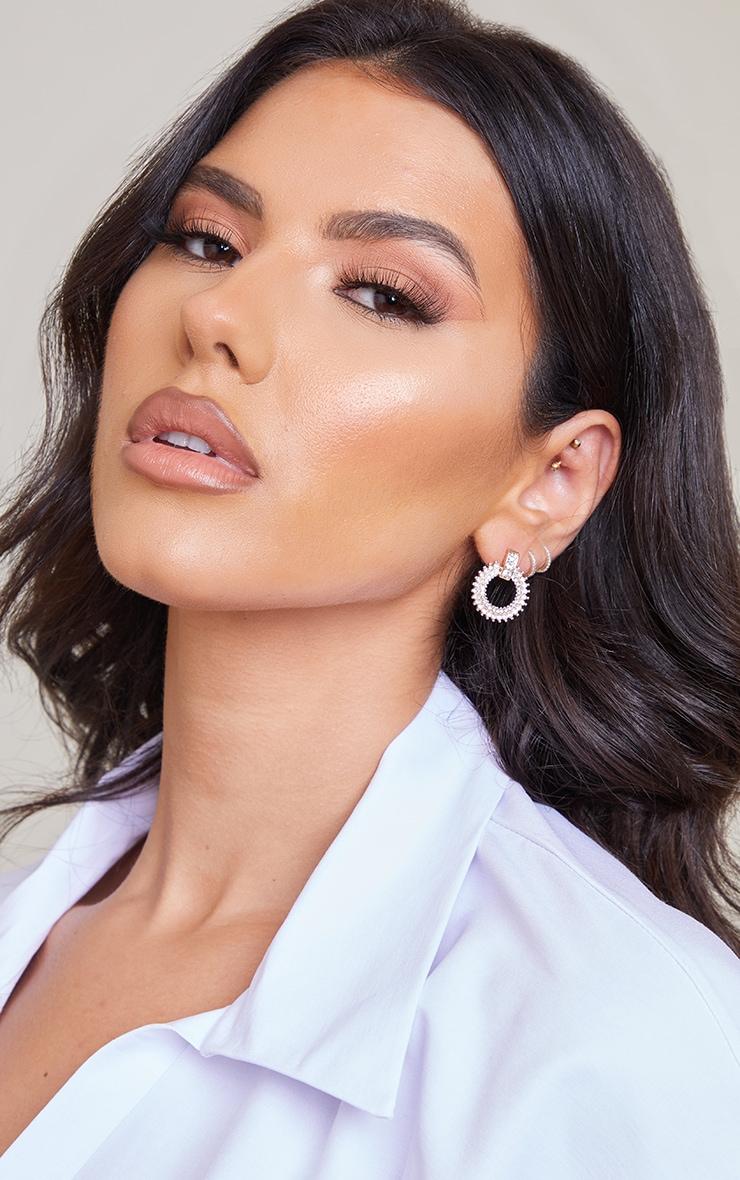Gold Enrcusted Diamante Door Knocker Earrings 1
