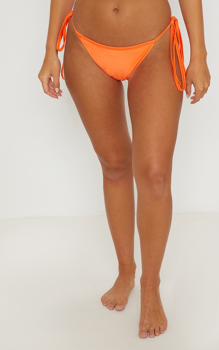 Orange Mix & Match Tie Side Bikini Bottom 2