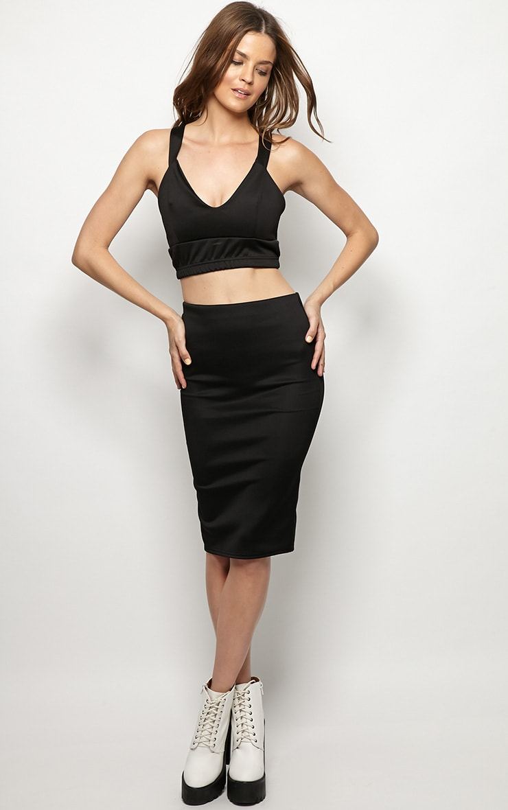 Connie Black Premium Midi Skirt 1