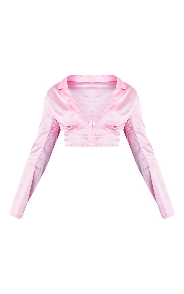 Hot Pink Satin Corset Waist Plunge Crop Shirt 5