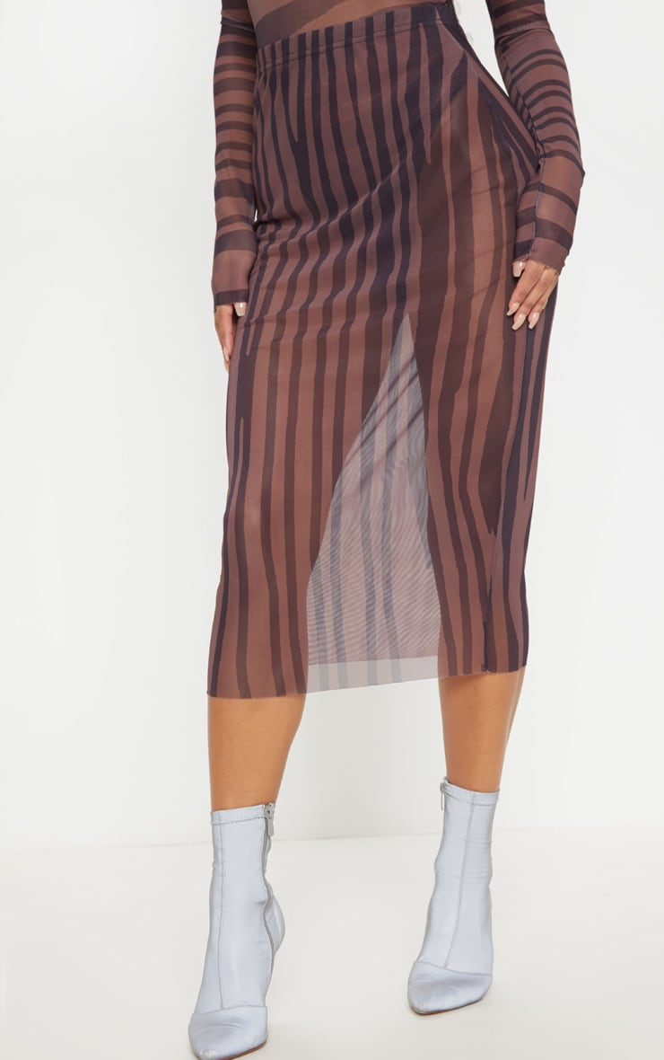 Brown Printed Mesh Midaxi Skirt 2