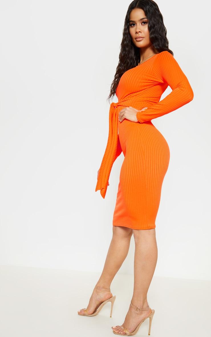 Orange Ribbed Long Sleeve Tie Waist Midi Dress 4