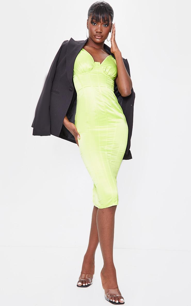 Tall Lime Satin Corset Detail Midi Dress 1